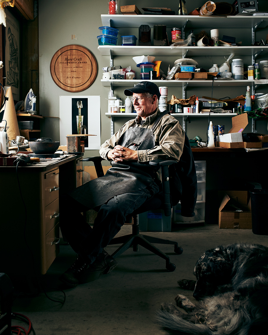 Portrait Photographer Amos Morgan Captures Bob Kramer at his desk