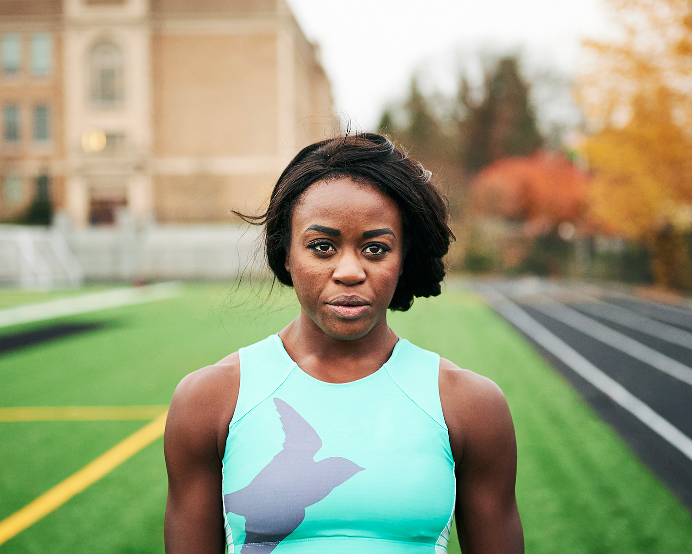 Collegiate runner in a candid portrait