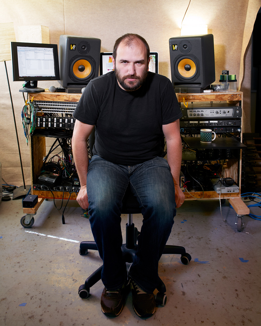 Singer David Bazan sits for portrait in his studio