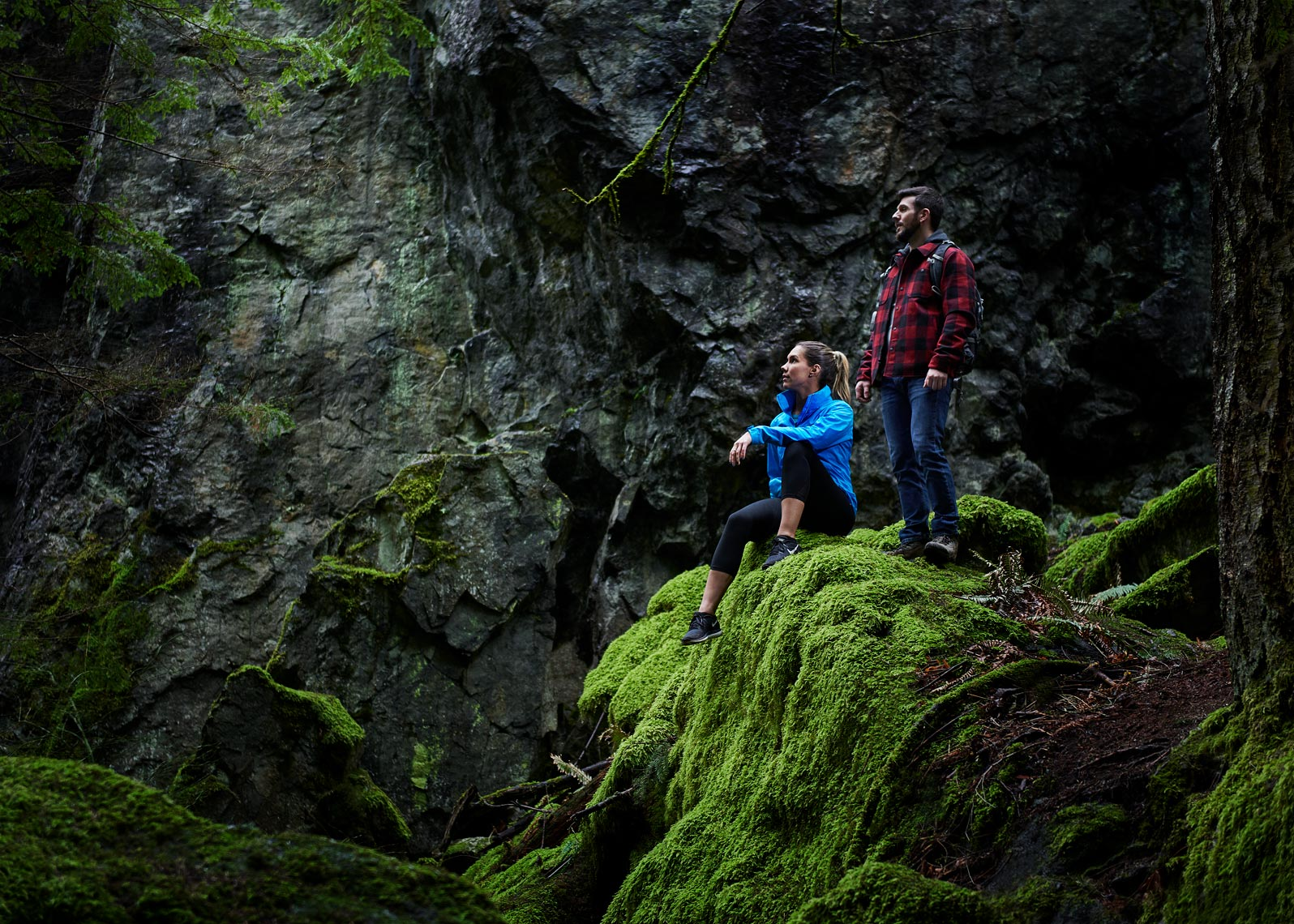 Forest bathing during photography shoot for a Seattle company