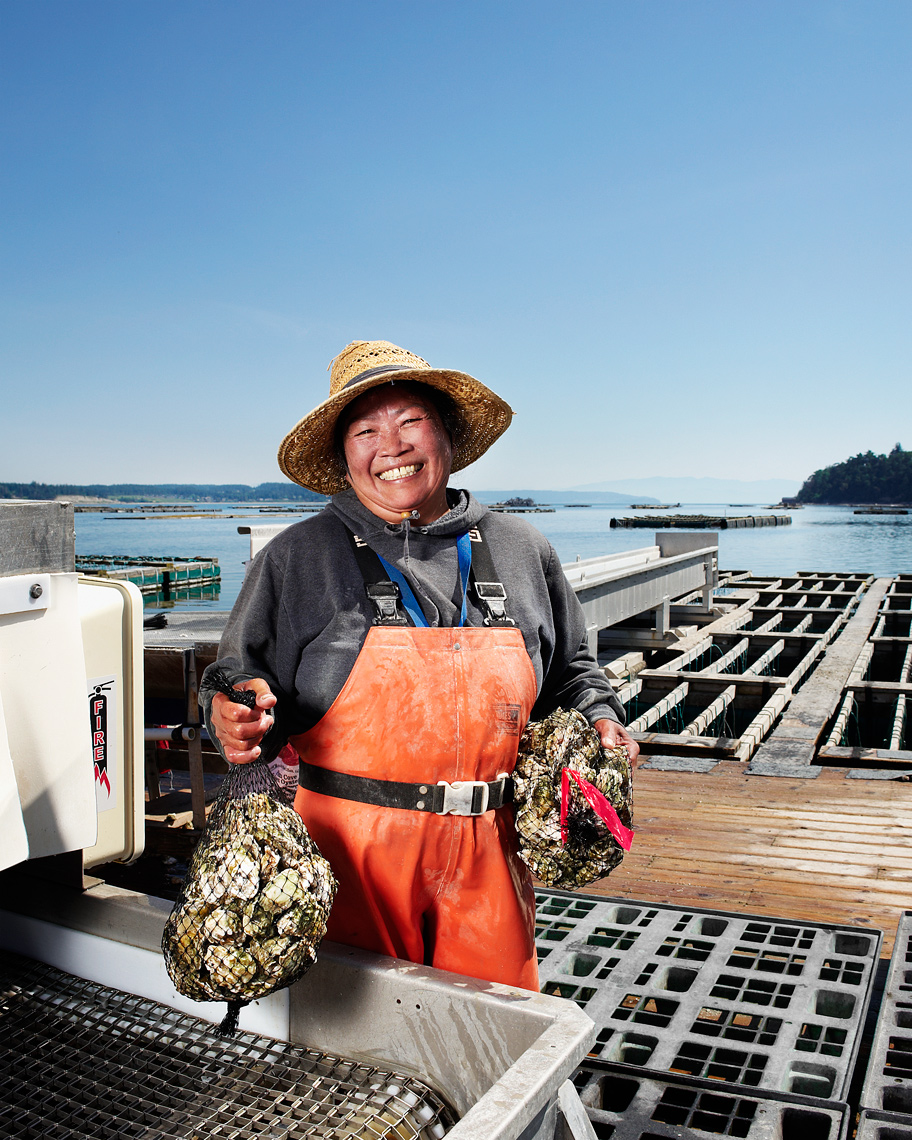 Oyster processor on Puget Sound portrait