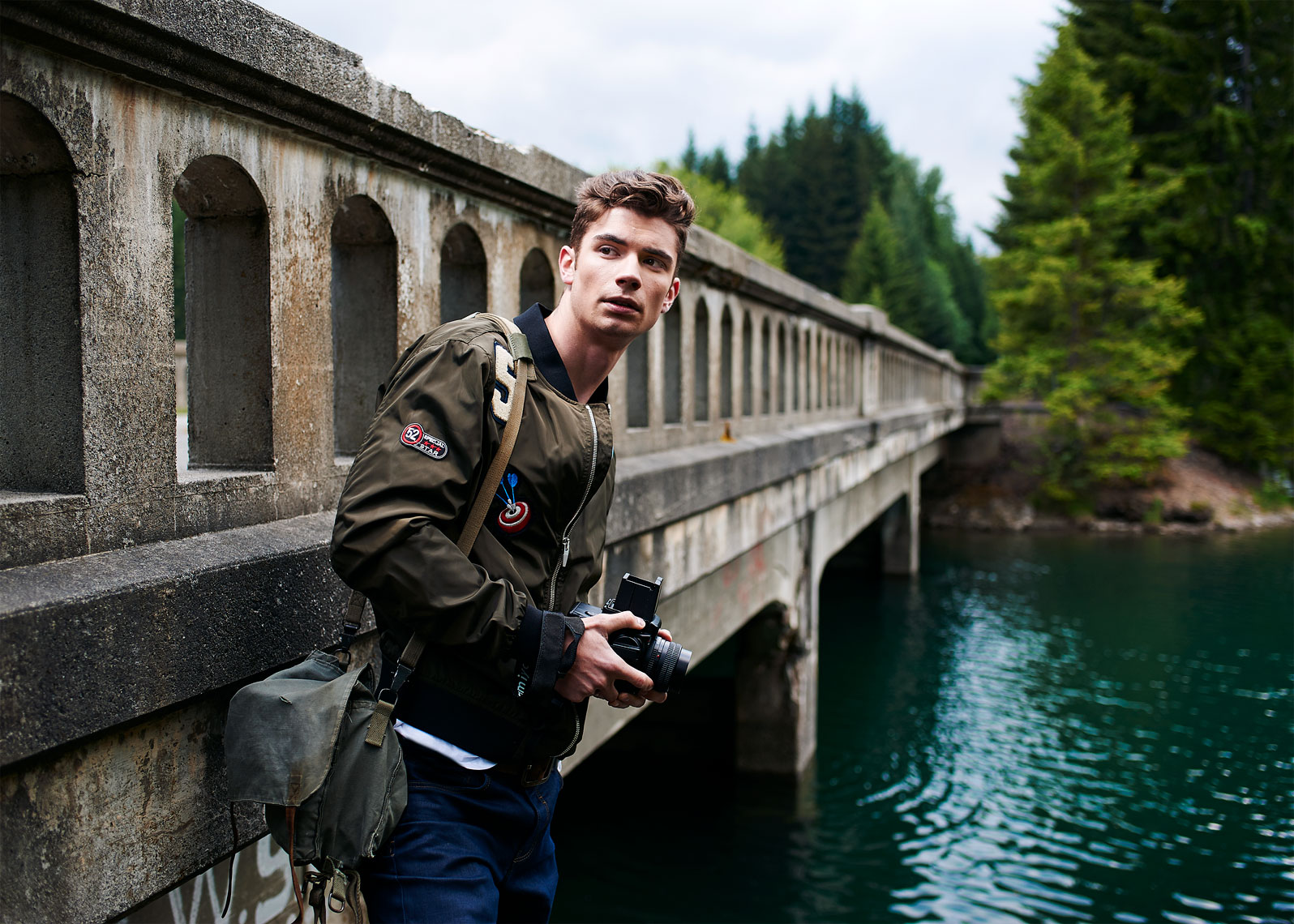 Seattle Lifestyle photographer documents man by a bridge