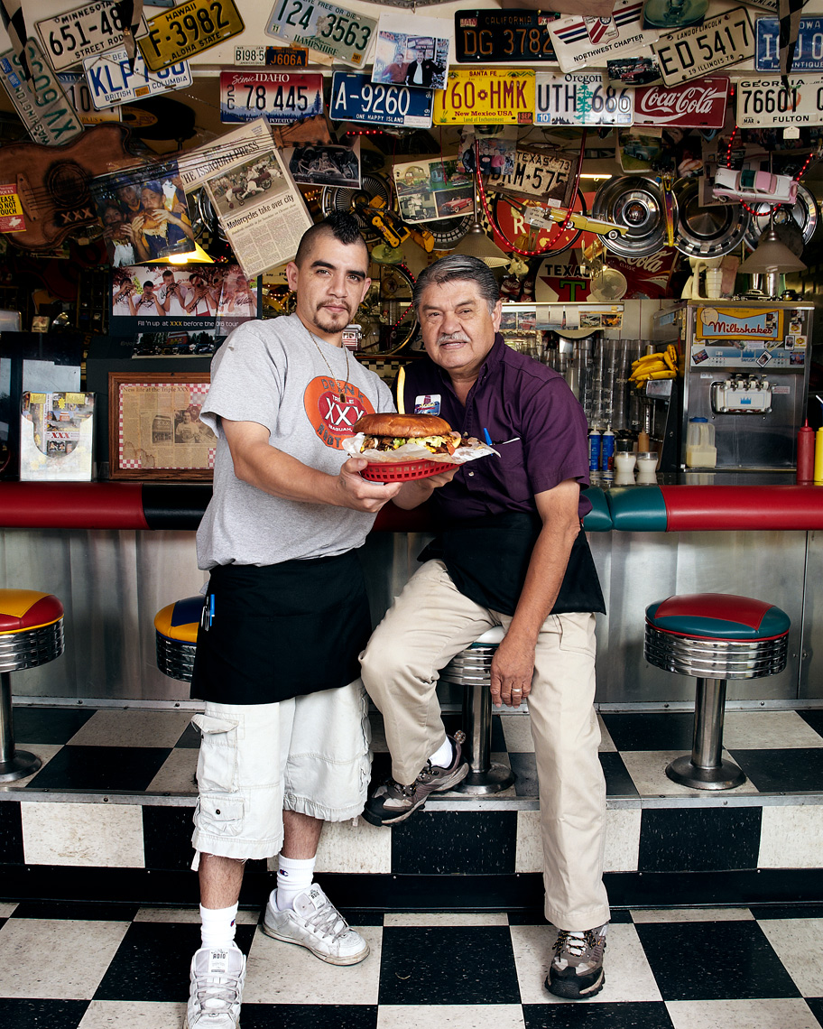 Issaquah portrait photography father and son burger business
